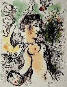 Lithograph Chagall - Nu au visage double