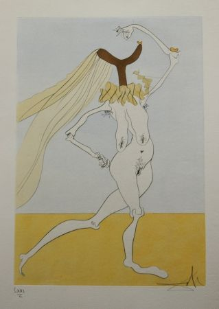 Engraving Dali - Nu aux Voilettes / Nude with Veils