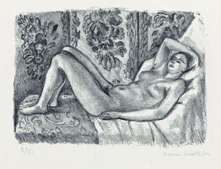 Lithograph Matisse - Nu couché au paravant Louis XIV