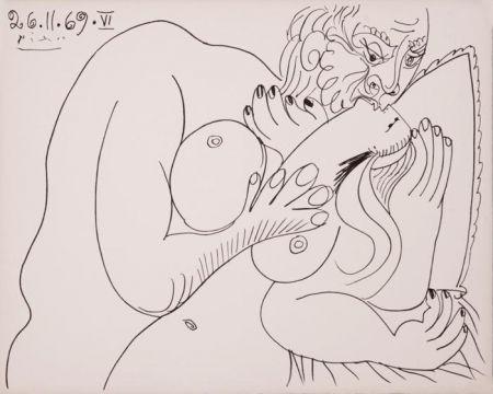 Linocut Picasso - Nu Couché VI