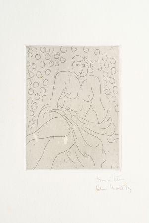 Etching Matisse - Nu drapé sur fond composé de cercles
