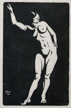 Woodcut Moreau - Nu / Nude - 1913