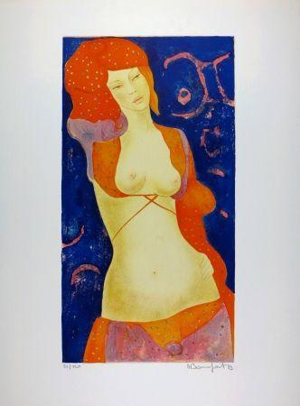 Lithograph Bonnefoit - Nu Orange / Orange Nude