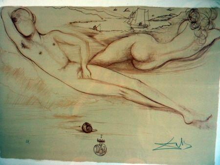 Lithograph Dali - Nude At The Beach   From