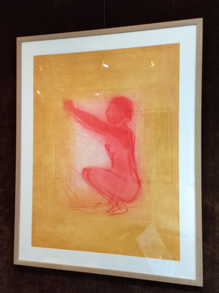 Lithograph Garache - Nude figure