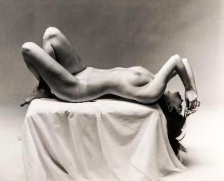 Photography De Dienes  - Nude Laying on Pedestal
