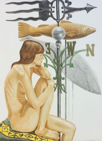 Lithograph Pearlstein - NUDE MODEL WITH BANNER AND FISH WEATHERVANE