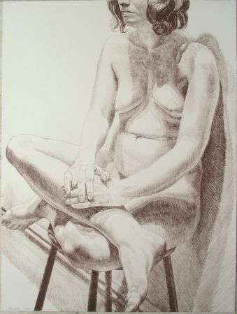 Lithograph Pearlstein - Nude on a stool