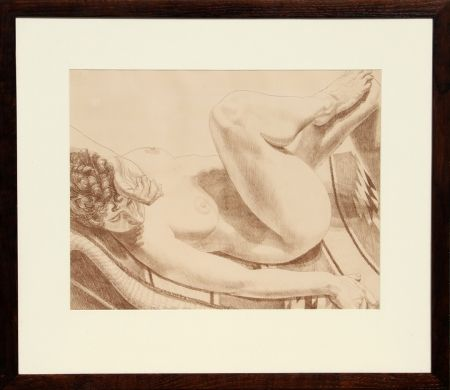 Lithograph Pearlstein - Nude on Chair