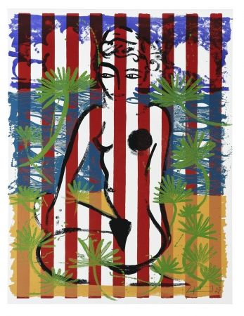 Screenprint Szczesny - Nude on Red Stripes