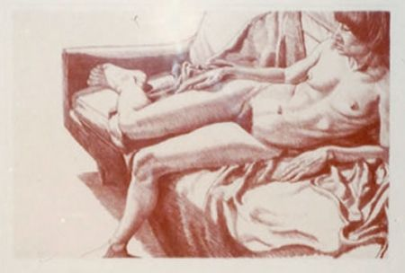 Lithograph Pearlstein - Nude on Sofa Draped