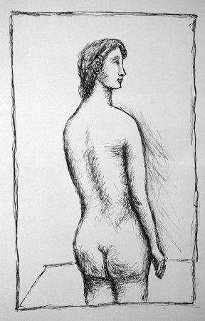 Lithograph Carra - Nudo di schiena