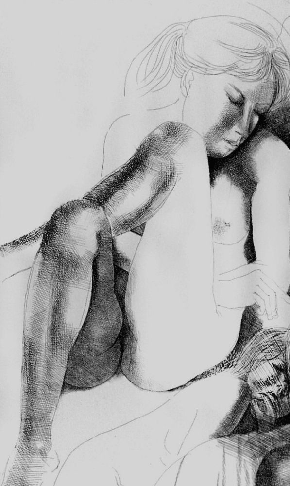 Engraving Greco - Nudo seduto