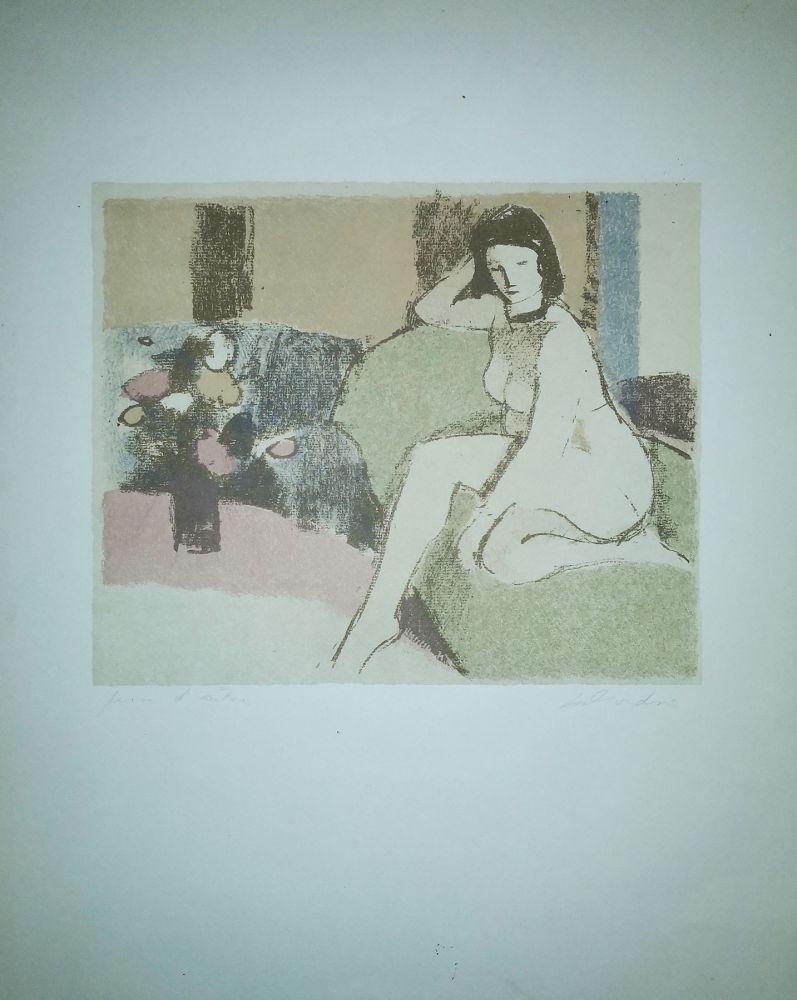 Lithograph Salvadori - Nudo sul divano