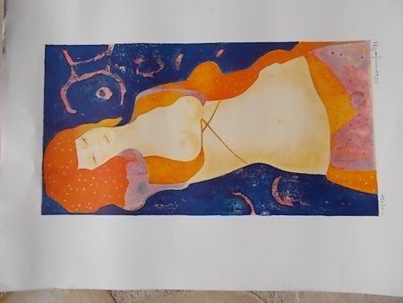 Lithograph Bonnefoit - Nue orange