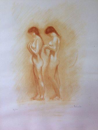Lithograph Belmondo - Nus. Lithographie à la manière de la sanguine.