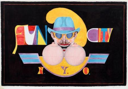 Lithograph Lindner - NY Men (Fun City)
