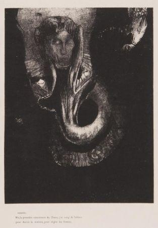 Lithograph Redon - Oannès : moi, la première conscience du chaos...