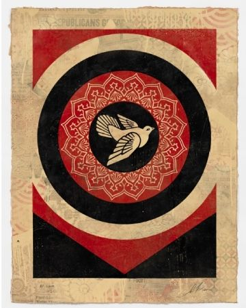 Screenprint Fairey - Obey Dove Black