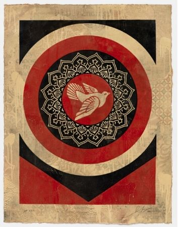 Screenprint Fairey - Obey Dove Red