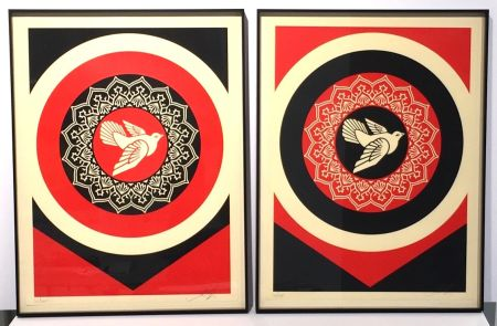 Screenprint Fairey - Obey Dove Red & Black Set