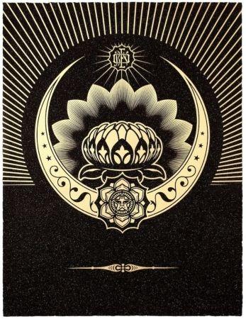 Screenprint Fairey - Obey Lotus Crescent (Black / Gold)