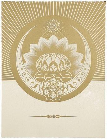 Screenprint Fairey - Obey Lotus Crescent (White / Gold)