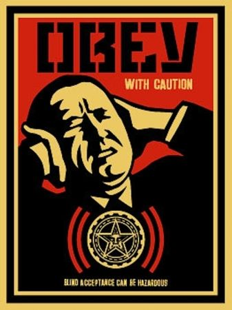 Screenprint Fairey - Obey with Caution