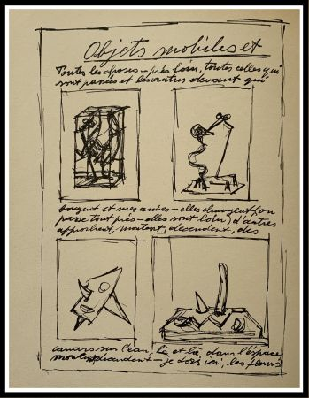 Lithograph Giacometti - OBJETS MOBILES ET MUETS I