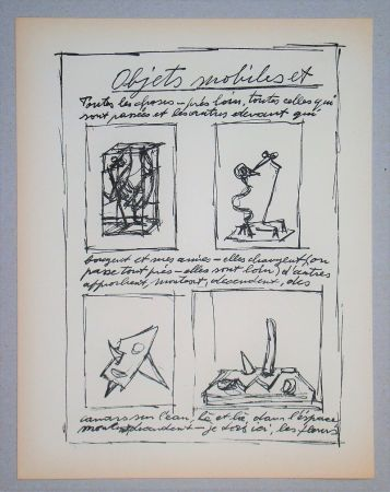Lithograph Giacometti - Objets mobiles et muets Part I.