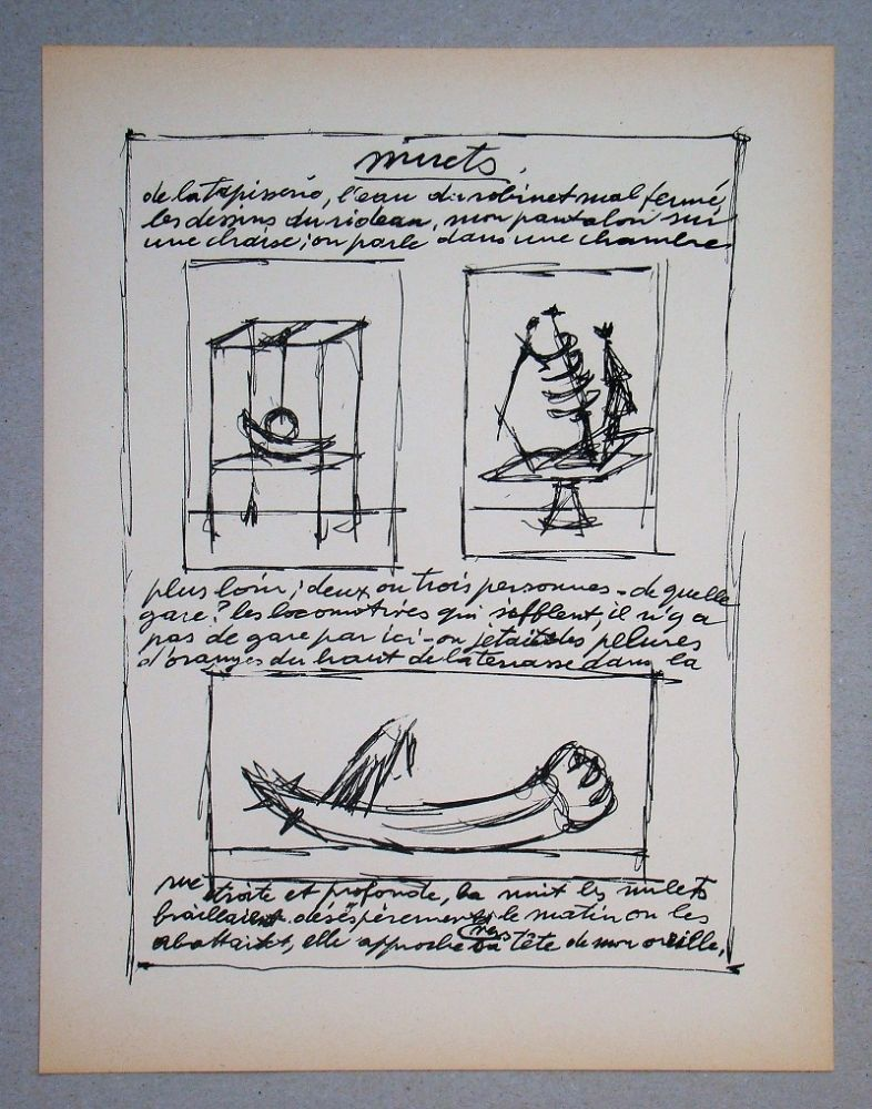 Lithograph Giacometti - Objets mobiles et muets Part II.