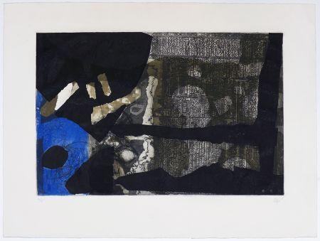 Etching Clavé - Ocre, noir et bleu