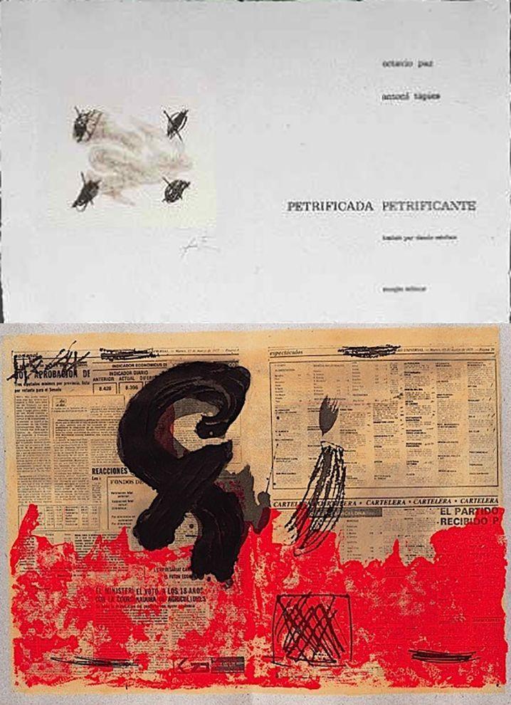 Illustrated Book Tàpies - Octavio PAZ: PETRIFICADA PETRIFICANTE. 8 gravures originales en couleurs (1978).