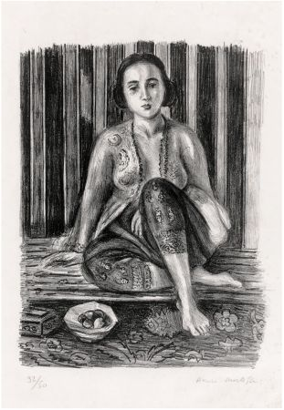Lithograph Matisse - Odalisque à la coupe de fruits. Lithographie (1925).