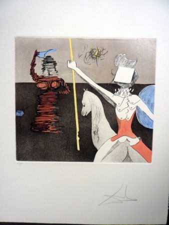 Etching And Aquatint Dali - Off To Battle (Don Quixote)