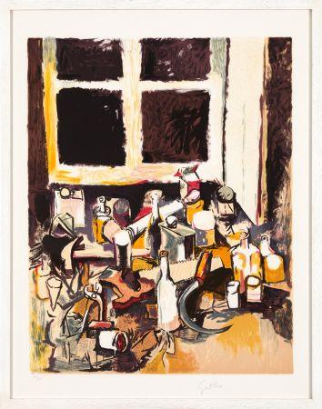 Lithograph Guttuso - Oggetti sul tavolo e finestra di sera