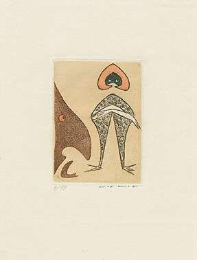 Aquatint Ernst - Ohne Titel bzw. Le chapeau rouge,