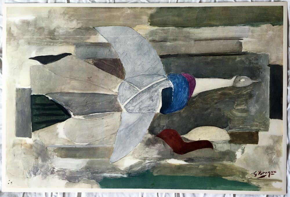 Lithograph Braque - Oiseau en vol (1953)