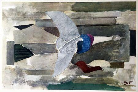 Rotogravure Braque - Oiseau en vol (1953)