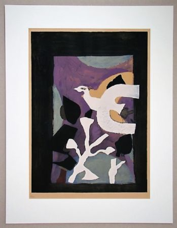 Lithograph Braque - Oiseau et Lotus