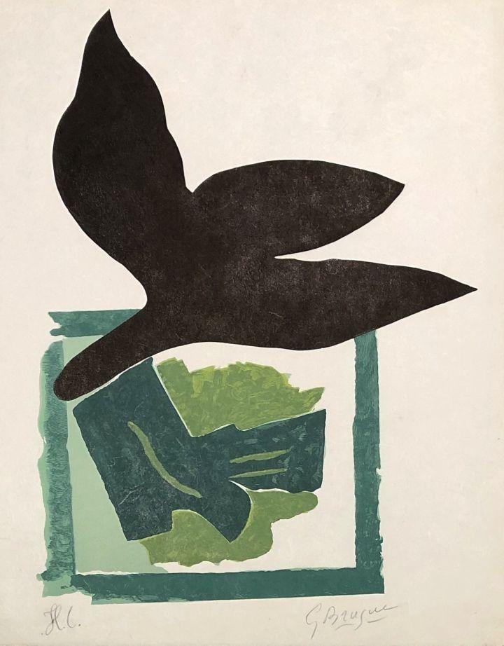 Woodcut Braque - Oiseau noir sur fond vert