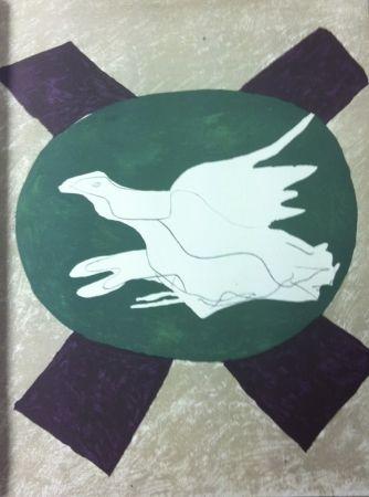 Lithograph Braque - Oiseau sur fond de X