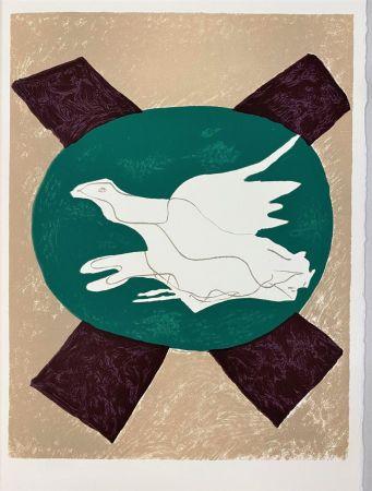 Lithograph Braque - Oiseau sur fond X