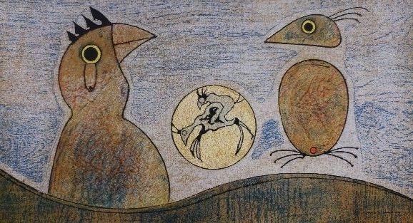 Lithograph Ernst - Oiseaux
