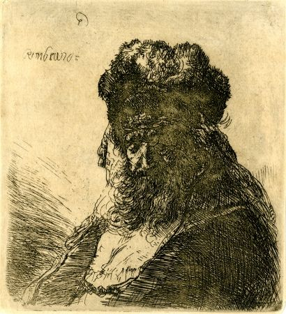 Etching Rembrandt - 	Old Bearded Man in a High Fur Cap, with Eyes Closed, c. 1635