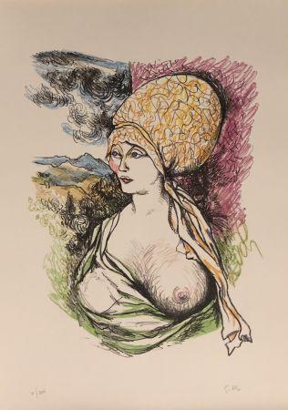 Lithograph Guttuso - Omaggio a Albrecht Durer