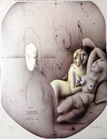Lithograph Wunderlich - Omaggio a Ingres