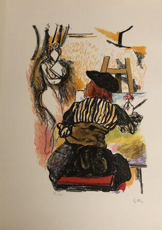 Lithograph Guttuso - Omaggio a Jan Vermeer