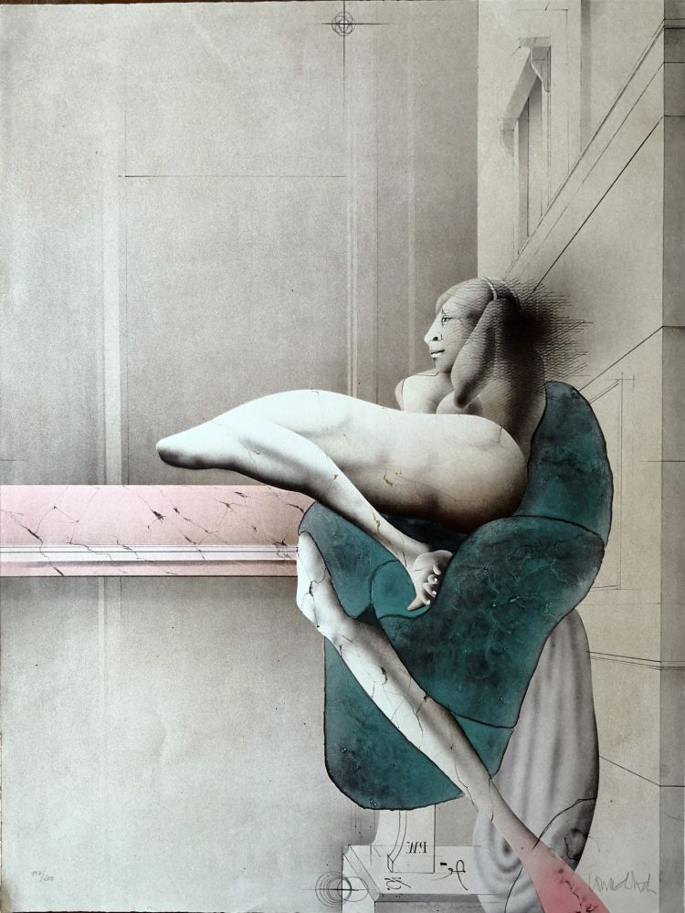 Lithograph Wunderlich - Omaggio a Michelangelo