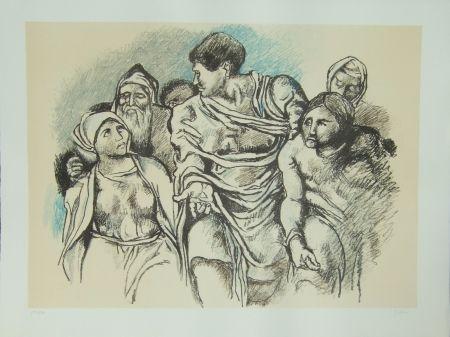 Lithograph Guttuso - Omaggio a Michelangelo